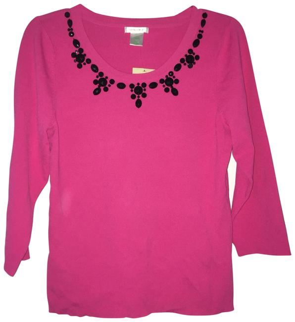 Preload https://img-static.tradesy.com/item/25774711/laura-ashley-pink-knit-shirt-with-black-gems-blouse-size-6-s-0-1-650-650.jpg