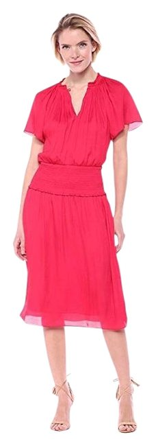 Item - Fuchsia Women's Pink Flutter Sleeve V-neck Smocked Waist Mid-length Short Casual Dress Size 8 (M)