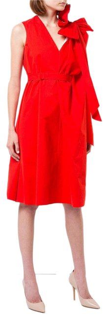 Item - Red White Made In Spain Bow Detail Two Long Night Out Dress Size 4 (S)