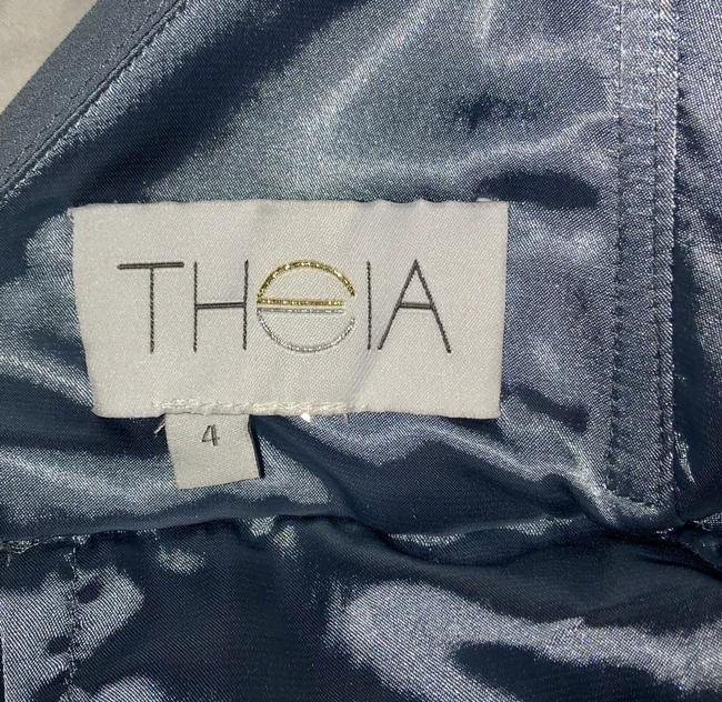 Theia A-line Backless Chiffon Full Length Halter Dress Image 5