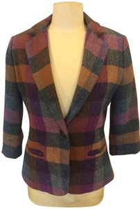 CAbi Purple, Gold and Green Plaid Jacket