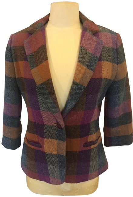 Item - Purple Gold and Green Plaid Fall Jacket Size 6 (S)