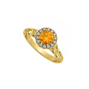 Marco B Citrine and CZ Filigree Design Halo Engagement Ring in 14K Yellow Gold