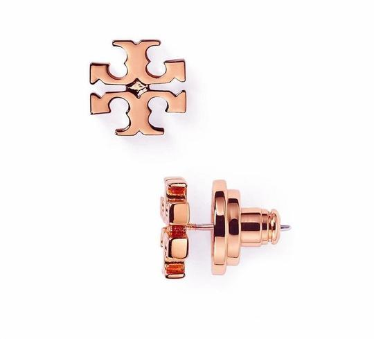 Tory Burch New Tory Burch Small T-Logo Studs Rose Gold Image 1