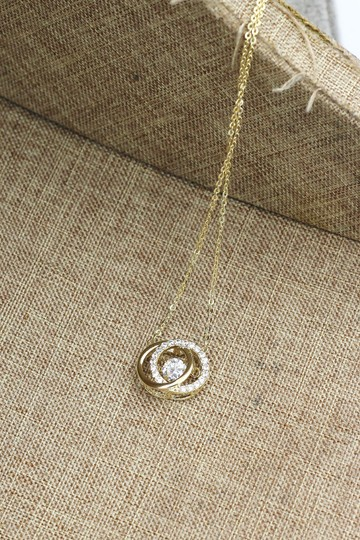 Ocean Fashion Gold double ring clavicle crystal necklace Image 5