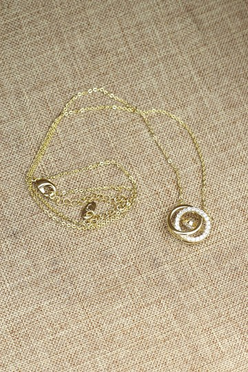 Ocean Fashion Gold double ring clavicle crystal necklace Image 6