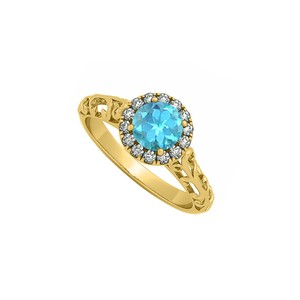 Marco B Filigree Halo Engagement Ring with Blue Topaz and CZ