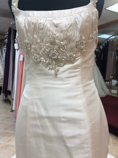 Anjolique Ivory Taffeta Beading. Silky Fit and Flare Destination Wedding Dress Size 6 (S) Image 2