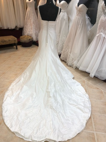 Anjolique Ivory Taffeta Beading. Silky Fit and Flare Destination Wedding Dress Size 6 (S) Image 4