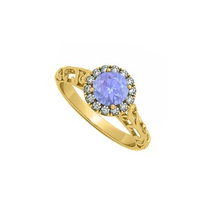 Marco B Filigree Halo Engagement Ring with Tanzanite and CZ in 14K Yellow Gold