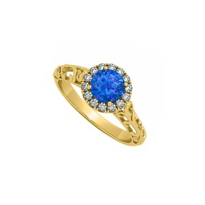 Marco B Sapphire and CZ Filigree Design Halo Engagement Ring
