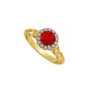 Marco B Ruby and Cubic Zirconia Halo Filigree Engagement Ring