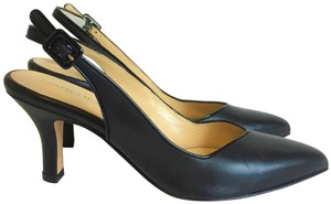 Marches Vous Leather Italian Comfortable Pointed Toe Slingback Black Pumps