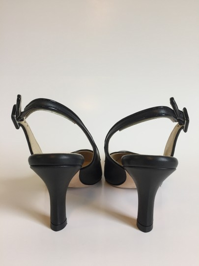 Marches Vous Leather Italian Comfortable Pointed Toe Slingback Black Pumps Image 1