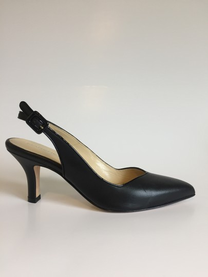 Marches Vous Leather Italian Comfortable Pointed Toe Slingback Black Pumps Image 3