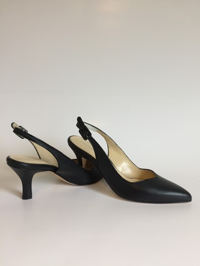 Marches Vous Leather Italian Comfortable Pointed Toe Slingback Black Pumps Image 4