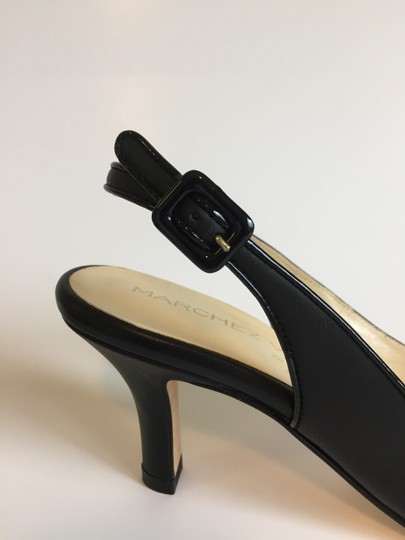 Marches Vous Leather Italian Comfortable Pointed Toe Slingback Black Pumps Image 5