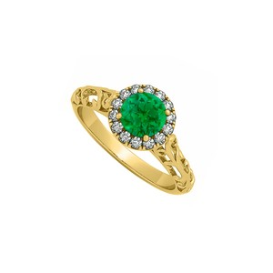 Marco B Emerald and Cubic Zirconia Halo Filigree Engagement Ring in 14K Yellow