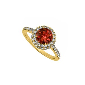 Marco B Garnet and Cubic Zirconia Double Fashion Halo Engagement Ring
