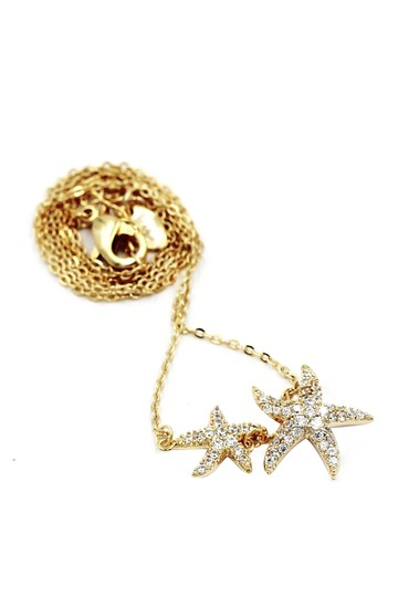Ocean Fashion Fashion gold double starfish crystal necklace Image 1