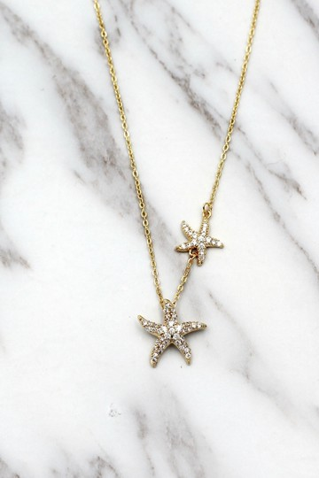 Ocean Fashion Fashion gold double starfish crystal necklace Image 6