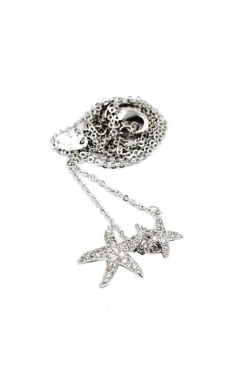 Ocean Fashion Fashion silver double starfish crystal necklace Image 1