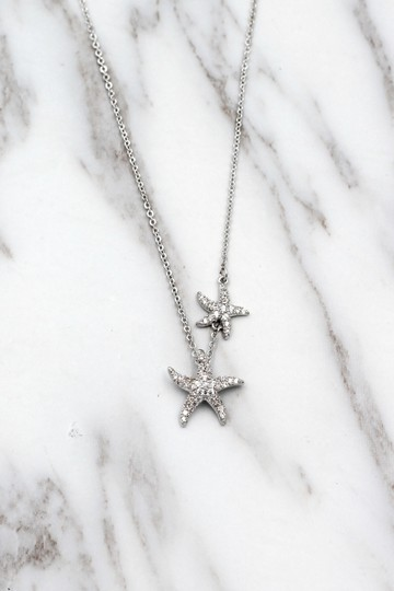 Ocean Fashion Fashion silver double starfish crystal necklace Image 5