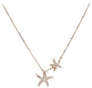Ocean Fashion Fashion rose gold double starfish crystal necklace