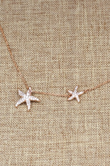 Ocean Fashion Fashion rose gold double starfish crystal necklace Image 1
