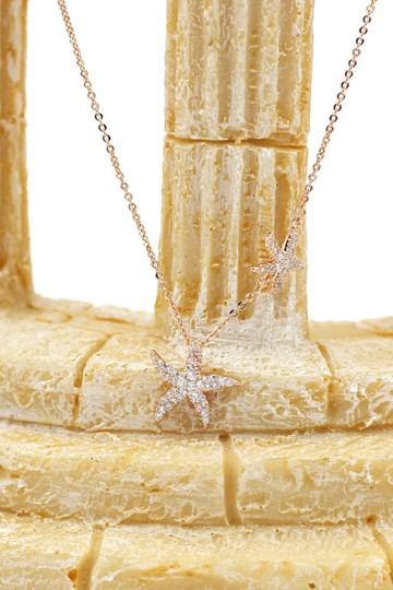 Ocean Fashion Fashion rose gold double starfish crystal necklace Image 2