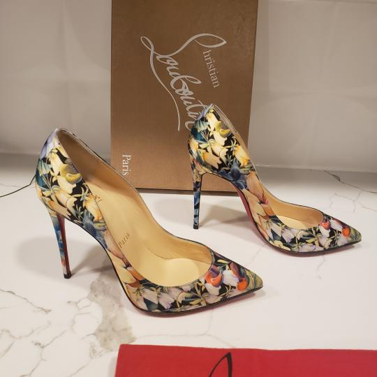 Christian Louboutin Stiletto Pigalle Floral Crepe Satin Multi Pumps Image 5