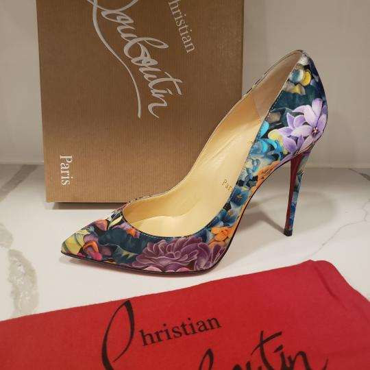 Christian Louboutin Stiletto Pigalle Floral Crepe Satin Multi Pumps Image 8