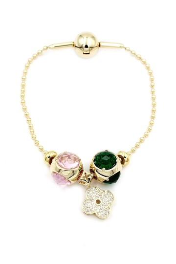 Ocean Fashion Gold four-leaf clover crystal bracelet Image 2