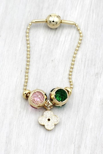 Ocean Fashion Gold four-leaf clover crystal bracelet Image 3