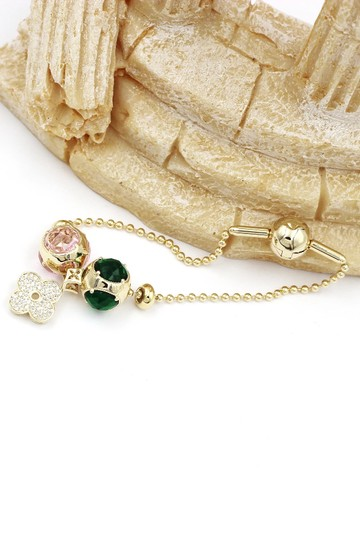 Ocean Fashion Gold four-leaf clover crystal bracelet Image 5