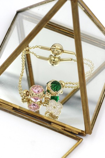 Ocean Fashion Gold four-leaf clover crystal bracelet Image 6