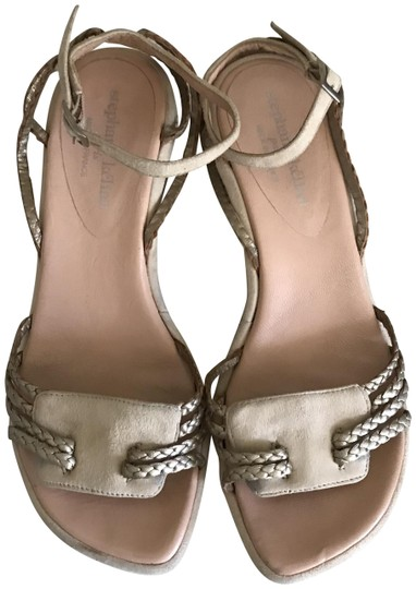 Stephane Kelian Suede Like New Beige/ gold Wedges Image 0