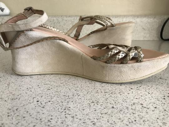 Stephane Kelian Suede Like New Beige/ gold Wedges Image 1