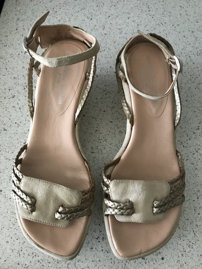 Stephane Kelian Suede Like New Beige/ gold Wedges Image 2
