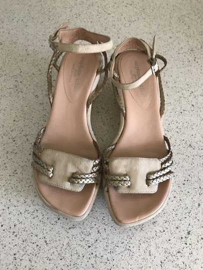 Stephane Kelian Suede Like New Beige/ gold Wedges Image 3