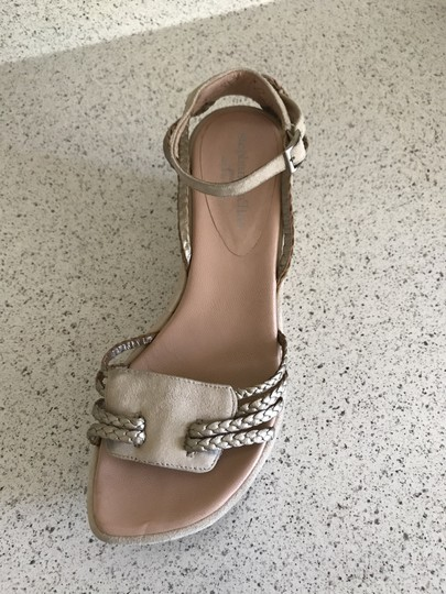Stephane Kelian Suede Like New Beige/ gold Wedges Image 4