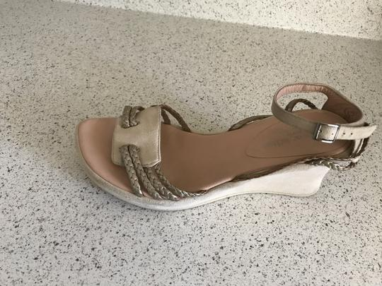 Stephane Kelian Suede Like New Beige/ gold Wedges Image 5