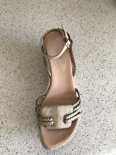 Stephane Kelian Suede Like New Beige/ gold Wedges Image 6