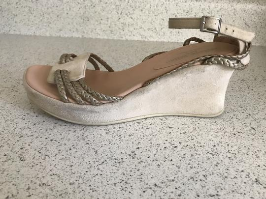 Stephane Kelian Suede Like New Beige/ gold Wedges Image 7