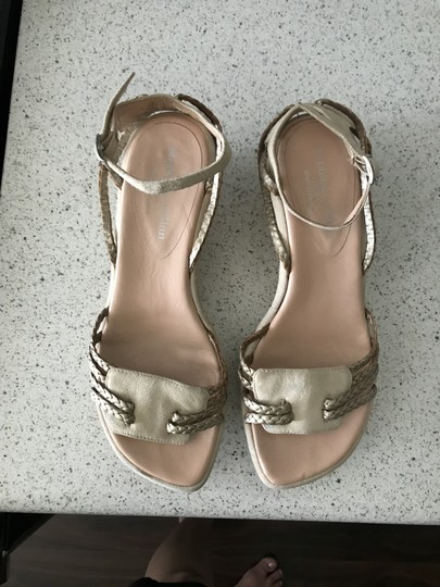 Stephane Kelian Suede Like New Beige/ gold Wedges Image 8
