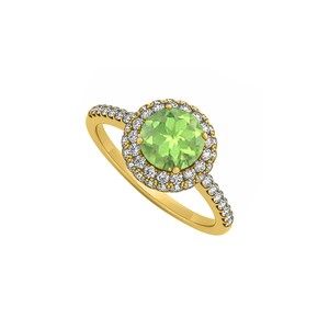 Marco B Peridot and Cubic Zirconia Double Halo Engagement Ring in 14K Yellow