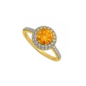Marco B Citrine and Cubic Zirconia Double Halo Engagement Ring