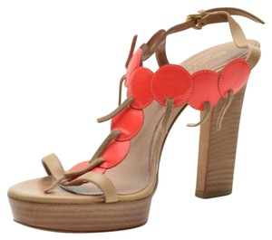 Sergio Rossi Platform Tan,Orange Sandals