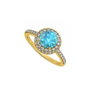 Marco B Blue Topaz and Cubic Zirconia Double Halo Engagement Ring