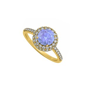 Marco B Tanzanite and Cubic Zirconia Double Halo Engagement Ring